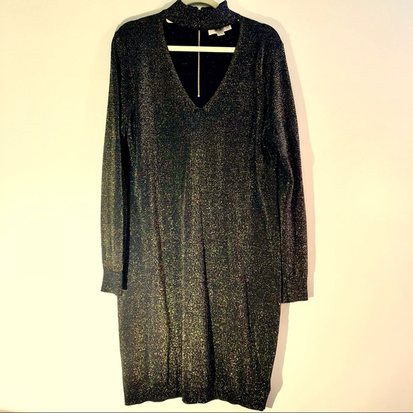 005a66ab5d MICHAEL by Michael Kors Black   Gold Sweater Dress.  M 5b535a1b04ef50772e916ef8